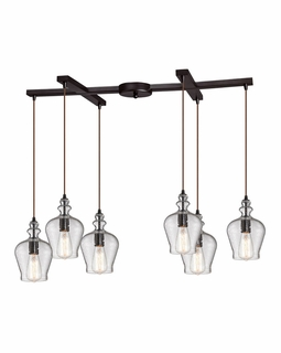 60066-6 Elk Restoration Menlow Park 6 Light Pendant In Oil Rubbed Bronze