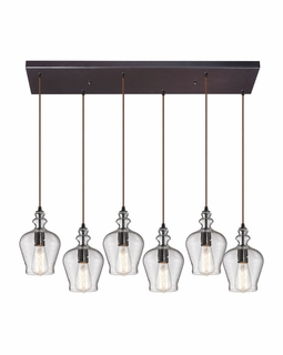 60066-6RC Elk Restoration Menlow Park 6 Light Pendant In Oil Rubbed Bronze