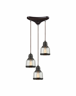 60068/3 Elk Restoration Menlow Park 3 Light Mini Pendant In Oil Rubbed Bronze