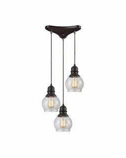 60069/3 Elk Restoration Menlow Park 3 Light Mini Pendant In Oil Rubbed Bronze