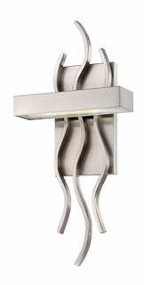 62/104 Nuvo Contemporary Brushed Nickel Wave 1 Module Wall Sconce w/ Frosted Glass