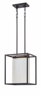 62/108 Nuvo Contemporary Textured Black Bin 1 Module Island Pendant w/ Clear Ribbed Glass
