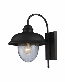 62000-1 Elk Streetside Cafe 1 Light Outdoor Wall Sconce In Matte Black