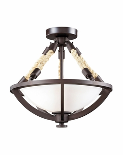 63011-2 Elk Restoration Natural Rope 2 Light Semi Flush In Aged Bronze