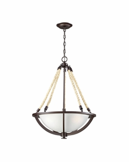 63013-3 Elk Restoration Natural Rope 3 Light Pendant In Aged Bronze