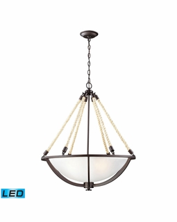 63014-4-LED Elk Restoration Natural Rope 4 Light LED Pendant In Aged Bronze