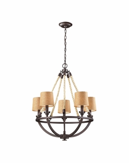 63015-5 Elk Restoration Natural Rope 5 Light Chandelier In Aged Bronze