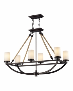 63018-6 Elk Restoration Natural Rope 6 Light Chandelier In Aged Bronze And White Glass