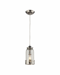 63025-1 Elk Restoration Brookline 1 Light Pendant In Polished Nickel And Clear Glass