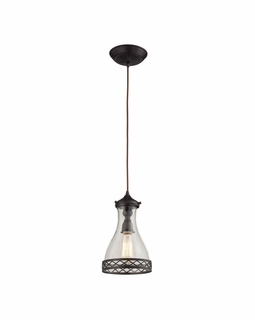 63034-1 Elk Restoration Brookline 1 Light Pendant In Oiled Bronze And Clear Glass