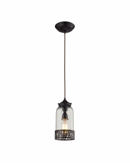 63035-1 Elk Restoration Brookline 1 Light Pendant In Oiled Bronze And Clear Glass