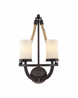 63040-2 Elk Restoration Natural Rope 2 Light Wall Sconce In Aged Bronze And White Glass