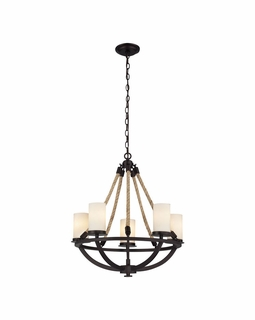 63041-5 Elk Restoration Natural Rope 5 Light Chandelier In Aged Bronze And White Glass