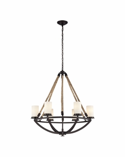 63042-6 Elk Restoration Natural Rope 6 Light Chandelier In Aged Bronze And White Glass