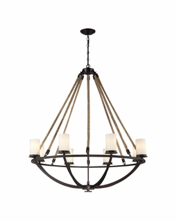 63043-8 Elk Restoration Natural Rope 8 Light Chandelier In Aged Bronze And White Glass