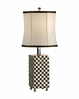 65322 Frederick Cooper Checkerboard Bone Lamp in Hand Inlaid