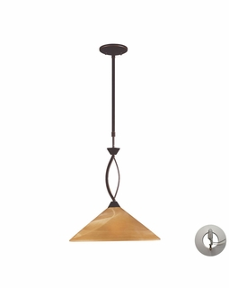 6550/1-LA Transitional Elysburg 1 Light Pendant In Aged Bronze And Tea Stained Glass - Includes Recessed Lighting Kit