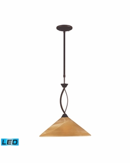 6550/1-LED Transitional Elysburg 1 Light LED Pendant In Aged Bronze And Tea Stained Glass