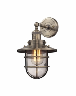 66376/1 ELK Lighting Seaport 1-Light Wall Lamp in Antique Brass with Clear Glass