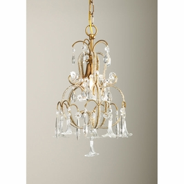 68000 Chelsea House Temple Chandelier-Italian Gilt Frame Crystal Flowers And Drops