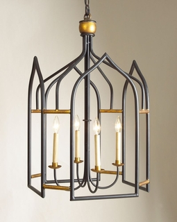 68003 Chelsea House Seville Lantern-Blue/Gold-Gothic Shaped Lantern Black And Gilt Finish