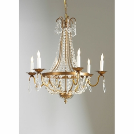 68005 Chelsea House Empire Chandelier-Italian Gilt Metal Frame Crystal Drops And Chains