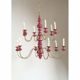 68013 Chelsea House Stockholm Chandelier-Turned 2 Tier Frame Red And Antique Gold Finish