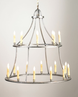 68015 Chelsea House Colonial Chandelier-2 Tier Antique Silver Frame