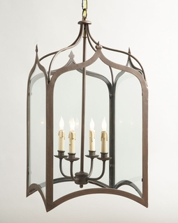 68028 Chelsea House Roma Lantern-Antique Silver Gothic Lantern Glass Panels