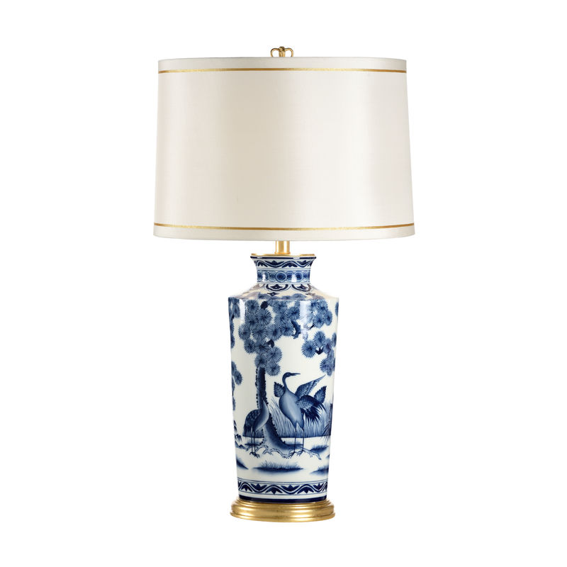 68697 Chelsea House Crane Urn Lamp Hand Painted Blue White Porcelain
