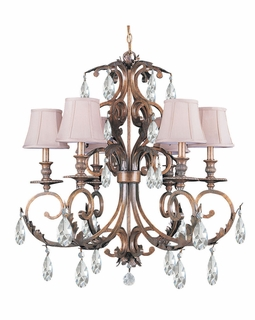 6906-FB-CL-MWP Crystorama Royal Hand Cut Crystal Wrought Iron Chandelier