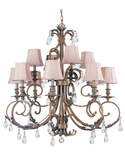 6909-FB-CL-MWP Crystorama Royal Clear Hand Cut Crystal Wrought Iron Chandelier