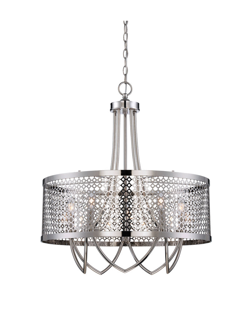 7-1281-5-109 Savoy House Raymond Waites Fairview 5 Light Pendant with Polished Nickel Finish  sc 1 st  Five Rivers Lighting & 7-1281-5-109 Savoy House Raymond Waites Fairview 5 Light Pendant ... azcodes.com