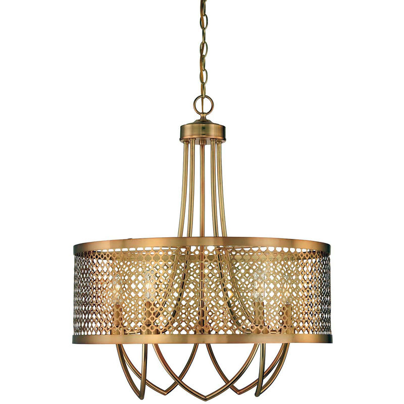 7 1281 5 325 Savoy House Raymond Waites Fairview Light Large Pendant With Rubbed Br Finish