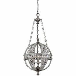 7-9130-3-332 Savoy House Guilder 3 Light Globe Pendant with Heirloom Silver Finish