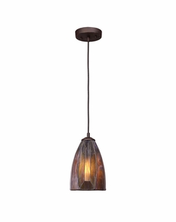 70046-1 ELK Lighting Dimensions  1-Light Mini Pendant in Burnished Copper with Tea-stained Glass