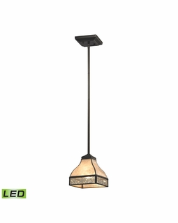 70201/1-LED ELK Lighting Santa Fe 1-Light Mini Pendant in Tiffany Bronze with Mica and Mercury Glass - Includes LED Bulb