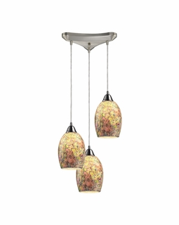 73021-3 ELK Lighting Avalon 3-Light Triangular Pendant Fixture in Satin Nickel with Multi-colored Crackle Glass