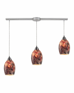 73031-3L ELK Lighting Avalon 3-Light Linear Pendant Fixture in Satin Nickel with Multi-colored Crackle Glass