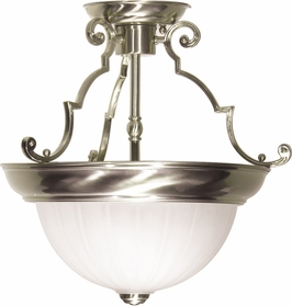 76/433 Nuvo Traditional Brushed Nickel 2 Light 13 inch Semi-Flush Frosted Melon Glass