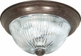 76/608 Nuvo Traditional Old Bronze 3 Light 15 inch Flush Mount Clear Ribbed Glass