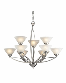 7638/6+3 Transitional Elysburg 9 Light Chandelier In Satin Nickel And White Glass