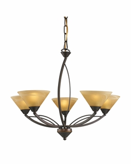 7647/5 Transitional Elysburg 5 Light Chandelier In Aged Bronze And Tea Stained Glass