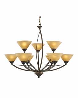 7648/6+3 Transitional Elysburg 9 Light Chandelier In Aged Bronze And Tea Stained Glass