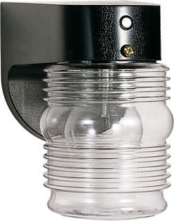 77/856 Nuvo Traditional Black 1 Light 8 inch Porch, Wall Clear Mason Jar W Photoelectric Sensor