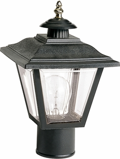 77/898 Nuvo Traditional Black 1 Light 13 inch Post Lantern Coach Lantern w/Brass Trimmed Acrylic Panels