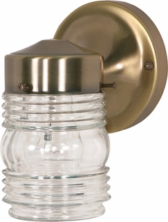 77/995 Nuvo Traditional Antique Brass 1 Light 6 inch Porch, Wall Mason Jar w/Clear Glass