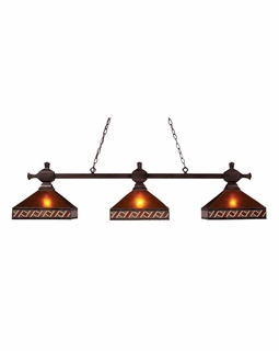 770-3-MB-A Elk Santa Fe 3 Light Billiard In Mission Bronze With Mica And Tiffany Glass