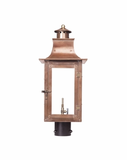 7914-WP Elk Maryville Outdoor Gas Post Lantern In Aged Copper