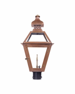 7918-WP Elk Bayou Outdoor Gas Post Lantern In Aged Copper